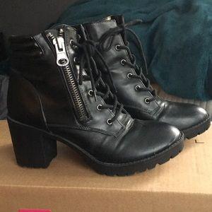 Steve Madden Black Heeled Combat Boots